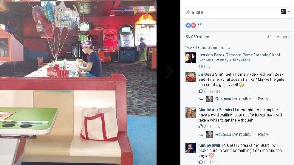 Photo Of Maine Teen Sitting Alone At Her Birthday Party Goes Viral Cousin Seeks Mail