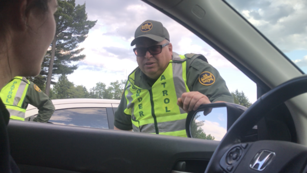 Border patrol agents question drivers at I-95 checkpoint