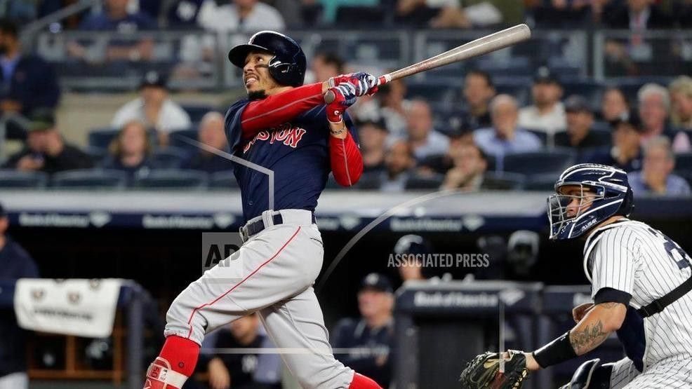 new concept 27f9f 3dd93 Boston Red Sox s Mookie Betts watches his three-run home run during the  eighth inning of a baseball game against the New York Yankees on Thursday,  Sept.